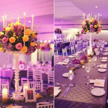 220x220 sq 1374849824305 royal table tall centerpiece purple yellow stay forever photography