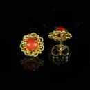 Red Coral Earrings 14K Yellow Gold http://www.orospot.com/product/e355cma/red-coral-earrings-14k-yellow-gold.aspx SKU: E355CMA $199.00 Round coral 3 prong set in vintage style post back earring. Earrings are made of 14k yellow gold and are 9 mm in diameter (3/10 inch)