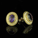 Victorian Style Amethyst Earrings 14K Yellow Gold http://www.orospot.com/product/e247ma/victorian-style-amethyst-earrings-14k-yellow-gold.aspx SKU: E247MA $399.00 Victorian style oval amethyst (size 8 x 6 mm. approx 2.5ct) and oriental seed pearls strung on a gold wire, Earrings are 14mm tall and 12mm wide (6/10 x 5/10 inch) and made of 14k yellow gold.