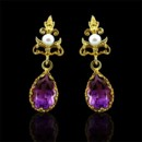 Victorian Style Amethyst Earrings 14K Yellow Gold http://www.orospot.com/product/e337ma/victorian-style-amethyst-earrings-14k-yellow-gold.aspx SKU: E337MA $439.00 Antique reproduction drop earring with a pearl (3mm) top and pear-shaped amethyst (approx. 3.40 cttw both) drop set in a gallery style mounting. Earrings are 28 mm long, 8 mm wide (1.1 x 0.31 inch) and made of 14k yellow gold.