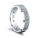 The Eli Men&#39;s Wedding Band <br /> (0.08ct ttl) Timeless and endless. Eli&#39;s 6mm segmented wedding band is a fresh take on a timeless style. The understated power of its burnish set diamonds underscores its bold facets in a contemporary, masculine way. Polished to perfection. Eli is available in multiple widths, and with or without diamonds. 100% hand crafted in either Platinum, 18k Gold, 14K Gold or Palladium.
