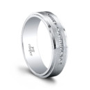 The Moses Men's Wedding Band (0.26ct ttl) Individual, yet understated. Carré cut, channel set diamonds in a distinctive 6mm men's band. A stepped edge gives Moses a contemporary feel. Hand finished to exact tolerances and polished perfectly, with extraordinary attention to detail. Moses is available in multiple widths, and with or without diamonds. 100% hand crafted in either Platinum, 18k Gold, 14K Gold or Palladium.