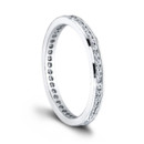 The Harper Eternity Wedding Band <br /> (0.45ct ttl) To love, always. A channel set eternity band with a petite millgrain finish for a vintage feel. Harper&#39;s round diamonds accentuate its delicate band. Matching a variety of engagement rings, it can also be worn alone, or stacked. Creative possibilities are endless. Available in several different versions, diamond sizes and shapes, and more. Hand crafted in either Platinum, 18k Gold, or 14k Gold.