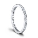 The Helena Eternity Band (0.65ct ttl) The carré cut diamond eternity band. Helena's channel set diamonds match a multitude of engagement rings, and can also be worn alone, or stacked creatively. Petite millgrain around the entire ring lends it a vintage look and unique brilliance. Available in several different versions, diamond sizes and shapes, and more. Hand crafted in Platinum and 18k Gold. Hand crafted in either Platinum or 18k Gold.