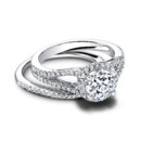 The Tristan Set (ring 0.41 ttl; 0.13 ttl) Bold and balanced. The show stopping Tristan Engagement Ring, together with its perfect mate, the lovely, contoured Tristan Wedding Band. Can be custom made to fit any shape center stone. Hand crafted in either Platinum, 18K Gold or 14K Gold.