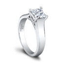 The Ginger Engagement Ring (0.10ct ttl) Unrivaled perfection. The gorgeous center diamond atop the intricate pavé lattice setting is enthroned within a wide shank with a beveled edge. The brilliance of Ginger's diamond is enhanced by the subtle, clean polish of its band. Can be custom made to fit any shape center stone. Hand crafted in either Platinum, 18K, or 14K Gold.