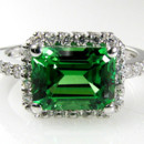 5A Quality Emerald CZ Engagement Ring set in 9-18 karat gold!