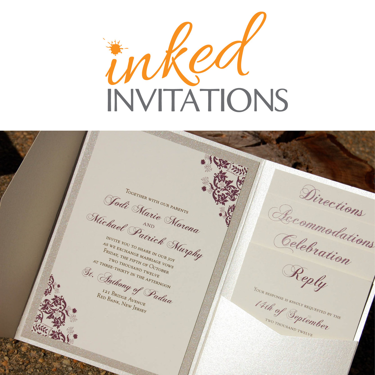 inked invitations invitations red bank nj weddingwire With wedding invitations red bank nj