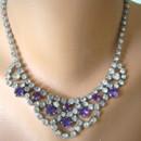 Wonderful vintage purple and white rhinestone swag style bridal necklace by Crystalpearl on Etsy.