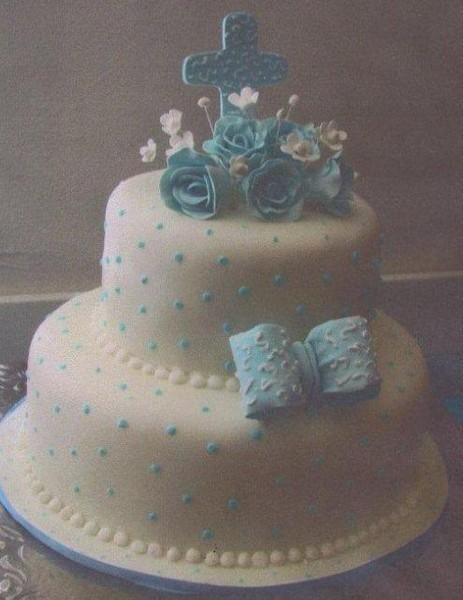 1400198704007 Christening Cake Blue Cross On To Birmingham Wedding Cake