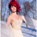 Rita Beaded Wool and Organic Linen Short Wedding Gown