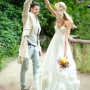Cinderella Beaded Wool and Organic Linen Wedding Gown