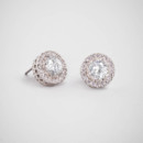 Crystal Halo Solitaire Studs  <br /> This classic is tried and true. Perfectly sized solitaire studs, complete with a delicate pave setting.