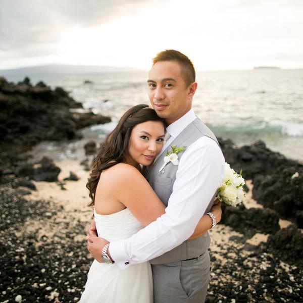 Venue: White Orchid Beach House  Event Coordinator: A White Orchid Wedding, Inc.  Floral Designer: Teresa Sena Designs  Caterer: Maui Catering Services