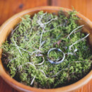 Alternative to wedding box, or bible. Moss in a wooden bowl.