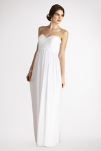 Laura A sweetheart neckline accents this delicate chiffon gown. Features an interior corset and padded cups