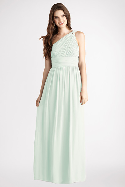 Rachel Subtle ruching highlights this one shoulder chiffon gown with a set in waist and floor length skirt. Features an interior corset and padded cups Available in other colors