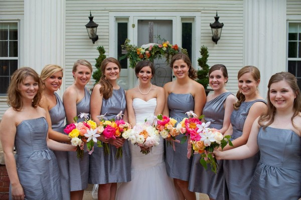 Gray Ivory Multicolor Bride Makeup Bridesmaid Makeup Curly