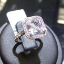 A glamorous square cut diamond gleams on fabulous halo engagment ring. 18k White Gold