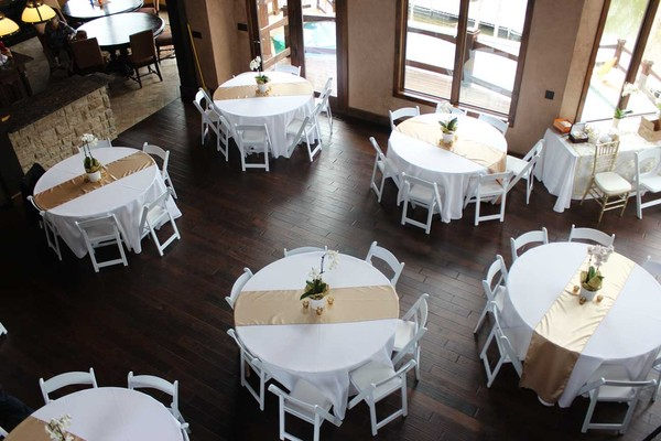 Gold White Centerpieces Chairs Indoor Reception Shantung