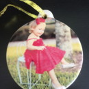 custom color photo printed on a 3.5 inch porcelain ornament