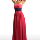 Style 22371 is a stunning strapless bridesmaid dress with a cummerbund and bow accent at the waist. This dress combines both elegance and modernity.