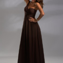 The simple yet elegant dress, Style 22376, is a one shoulder chiffon bridesmaid dress with rouging on the bodice.