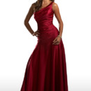 This A-symmetrical fitted gown features a drop waist and a one shoulder neckline. Style 22377 is a stunning dress!