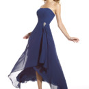 A strapless bridesmaid dress, Style 22430, features a gorgeous hi-low skirt and is topped off with a simplistic and elegant broach on the bodice.