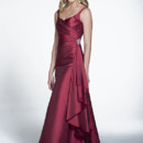 This tank style bridesmaid dress has a wrap waist and a gathered skirt with a sparkly broach as a finishing touch. Style 22522 has an A-line silhouette and comes in a beautiful taffeta material.