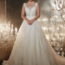 Christina Wu 15542  A stunning lace tank style A-line gown that features a heavily-beaded illusion v-neck that then continues into an appliquéd skirt. Style 15542 is a beautiful bridal ball gown.