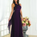 22347 Style 22347 is a one shoulder a line chiffon silhouette The dress also contains a back chiffon drape and an empire satin band, truly elegant.