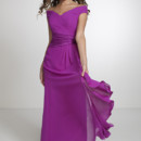 22534 Dress your bridesmaids in style with this A-line dress. Style 22534 features an off the shoulder neckline, and a pleated bodice with an asymmetrical waistline. It comes in chiffon with a satin waistband. Dazzling!