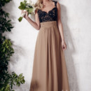 Christina Wu Occasions Style 22649 Full-length A-line chiffon skirt with gathered waistband. Lace bodice with sweetheart neckline and open back Available in various colors