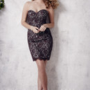 Christina Wu Occasions Style 22651 Short lace and satin dress with strapless, sweetheart neckline. Various colors available.