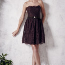 Christina Wu Occasions Style 22652 Short lace and satin dress with strapless, sweetheart neckline.