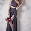 Christina Wu Occasions Style 22660 One-shoulder chiffon A-line gown with side slit and satin waistband. Available in various colors.