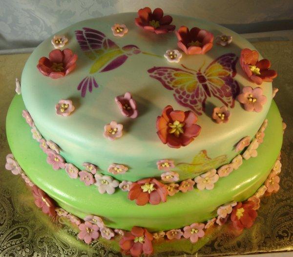 1217760323047 2layercakewithsugarsculptureflowersandairbrushhumingbirdandbutterfies Greenville wedding cake