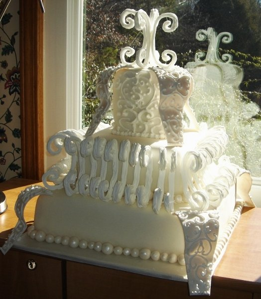 1217760623165 3tierweddingcakewithroyalicingcurls,sugarsculpturecurlicuesandpearls Greenville wedding cake