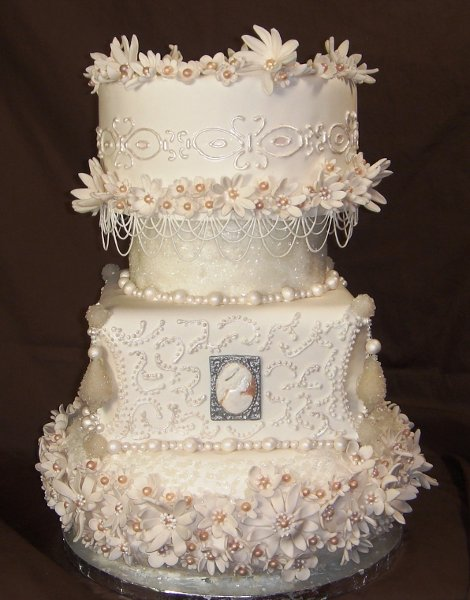 1229377890306 Cameos,flowersandpearlsweddingcake003 Greenville wedding cake