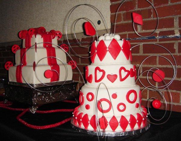 1231114369953 4tierfondantcelebrationcakewithreddiamonds,hearts,circles,pearlsandwiresculptures Greenville wedding cake