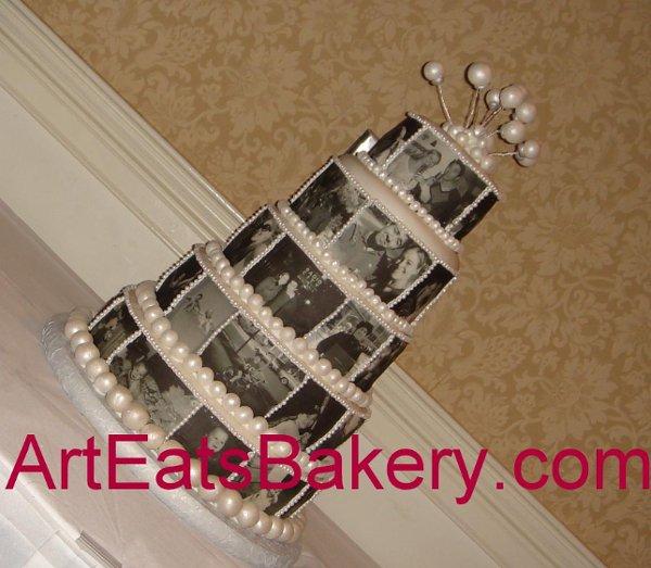 1244409304768 Blackandwhiteediblephoto5tierweddingcake Greenville wedding cake