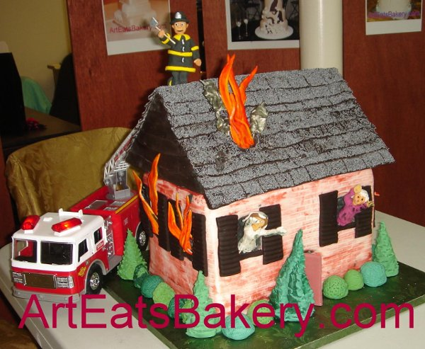 1244409381315 HouseonfireGroomscakewithsugarfirefighter Greenville wedding cake