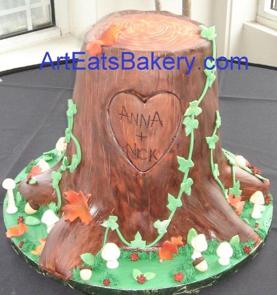 1255044377411 Fondanttreestumpweddingcakewithleavesmushroomsandivy Greenville wedding cake
