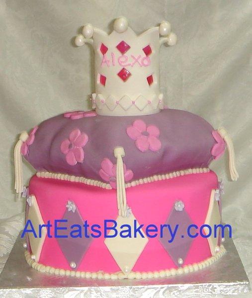 1255044424223 Pinkandpurpleprincesscrownandpillowbirthdaycake Greenville wedding cake