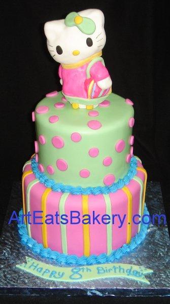1255044469223 HelloKittytwopolkadotandstripetierfondantbirthdaycake Greenville wedding cake
