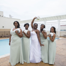 220x220 sq 1497290336823 bride with bridesmaids by the pool funny