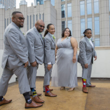 220x220 sq 1497290377685 bride with groomsmen and socks