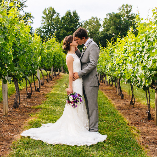 Venue: Silver Fork Winery  Event Planner: Stacey Ripley  Dress Designer: Justin Alexander from Maggi Bridal  Bridesmaid Dresses: Bill Levkoff  Groom and Groomsmen Attire: Men's Wearhouse  Ceremony Musician: Paul Bowman  Caterer: HomeGrown and Blue Ridge Event Staffing