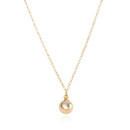 Amanda Rudey Forget Me Not Necklace ~ A small briolette sits atop a metal disk at the end of a delicate chain. Available in any color gemstone you would like! Available in 18k vermeil, Sterling Silver or 14k Gold. Adjustable 16-18 inches.